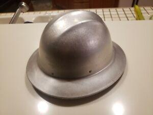 Vintage ED BULLARD Aluminum Hard Boiled FULL BRIM Hard Hat with Original Liner