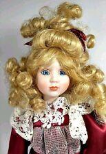 """11"""" VINTAGE PORCELAIN CHINA  DOLL Dressed Girl Blonde Hair"""