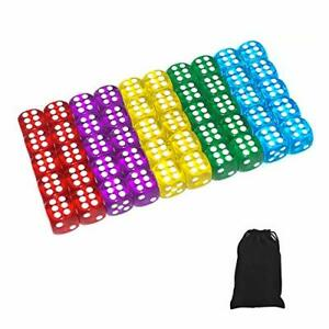 50 of Pack 14MM 6 Sided Dice Set Translucent Colors Dice Black Pouch
