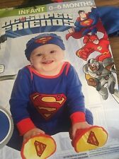 boys infant baby 0-6 months  SUPERMAN Halloween costume newborn red & blue