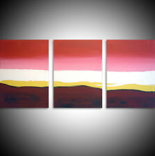 acrylic painting canvas triptych modern art abstract wall pink red yellow 48x20""