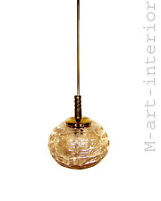 Textured Amber Glass Flush Ceiling Lamp Pendant German Light by Limburg 1960´s