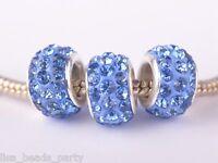 10pcs 12mm Rhinestone Silver Plated European Charms Loose Big Hole Beads Lt Blue