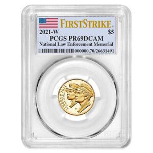 2021-W Proof $5 Gold National Law Enforcement PCGS PR69DCAM FS Flag Label