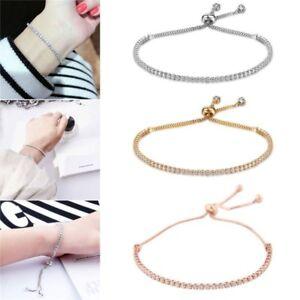 Women Adjustable Bracelet Rhinestone Crystal Cuff Bangle Fashion Chain Jewelry