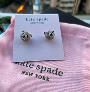 Kate Spade New York Gold Tone Pave Teddy Bear Stud Earrings