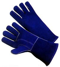 Lot of 12 BLUE Leather Welding Gloves w Kevlar Stitches Men Size (Large/XL)