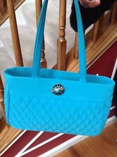 Vera Bradley Turquoise Quilted Bag Tote Shoulder Handbag Purse Silver Logo