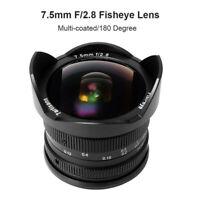 7artisans 7.5mm F2.8 Fisheye Super Wide Angel Lens for Sony NEX A7II A6500 VG10