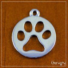 Dog Paw pet tag ~1pc~ silver-tone finish cutout 20mm diam. bear pendant