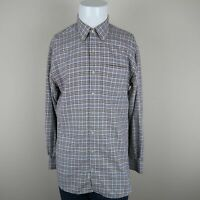 Peter Millar Blue Brown Long Sleeve Houndstooth Check Casual Shirt Mens Large