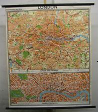 Schulwandkarte schöne alte Londonkarte Stadtplan 109x132cm vintage map von 1970