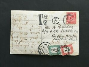 SOUTH AFRICA 1924 1d + 1/2d POSTAGE DUES ON INCOMING POSTCARD