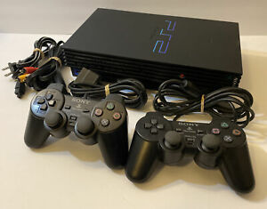Complete Sony PlayStation 2 PS2 Console System Bundle Fat Black - 2 Controllers