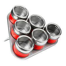 Set Of 6 Magnetic Spice Herbs Storage Jars Stainless Steel Includes Tray Holder