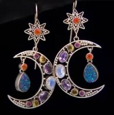 Nicky Butler Multigemstone Crescent Moon Silver Drop Earrings - Collector's  NWT