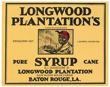 LONGWOOD PLANTATIONS, Baton Rouge, Black Americana **AN ORIGINAL CAN LABEL**