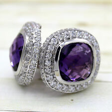 Awesome Amethyst Halo Fine Cufflinks CZ 925 Sterling Silver Modified Square
