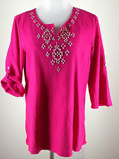 SUSAN GRAVER Roll-up 3/4sl 'Gauze Tunic Top w/Beaded Neck' (Relaxed Fit)-S, Pink
