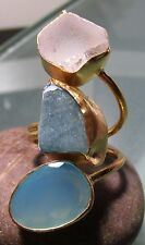 Gold plated brass 13gr rough fluorite/rock quartz/chalcedony ring UK P/US 7.75