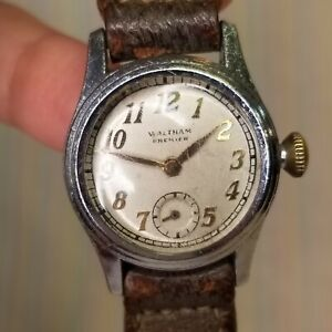 Vintage Waltham Premier Watch L-8.7 Women's Wristwatch Leather Band Art Deco