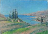 tableau huile panneau - Marine vers 1920   - signée F Ehrlich