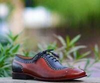 Men's Handmade Italian Luxury Whole Cut Oxfords Wedding Party Calf Leather Shoes