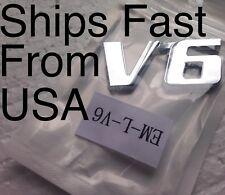"""New V6 Car Chrome """"V-6"""" Emblem Badge Chrome. Sold & Ships Fast From USA"""