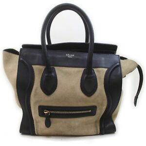 CELINE Hand Bag  Beiges Suede Leather 840989