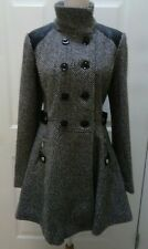 GUESS BLACK WHITE TWEED WOOL FAUX LEATHER TRIM DOUBLE BREASTED COAT SIZE M