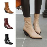 Western Pattern Pointy Toe Patent Leather Women Chunky Heel Chelsea Ankle Boots