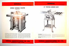 """Vintage 2PC GENERAL Canada SPINDLE SHAPER & 8"""" Table SAW ADVERTISEMENT GRP RR616"""
