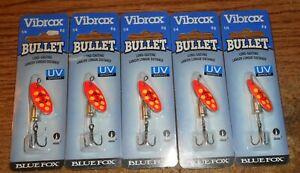 BLUE FOX VIBRAX BULLET 2 SPINNER LOT/5 LURES/UV COLOR/NOC!