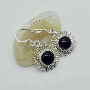 """Solid 925 Sterling Silver Natural Amethyst Gems Earring Jewelry S 1 1/4"""" TR-119"""