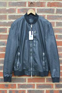 **AWESOME SAUCE** AllSaints Spitalfields Mens KINO Leather Bomber Jacket LARGE