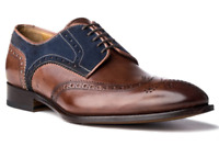 New Handmade Men's Brown Leather and Blue Suede Wing Tip Oxford Shoes
