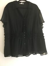 JM Collection Womens Short Sleeve Blouse Black Frilled Size 24W