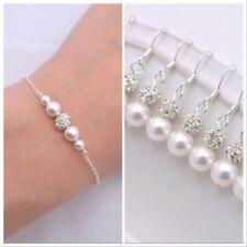 Bridal Pearl,Rhinestone Bracelet Earring Set wedding,bridesmaids Gift Jewellerys
