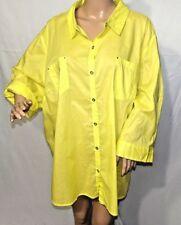 Catherines Women Plus Size 3x Yellow Hi Lo Button Down Shirt Top Blouse Jacket