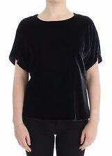NUEVO DOLCE & GABBANA terciopelo negro cuello redondo blusa camiseta IT40/Us6/