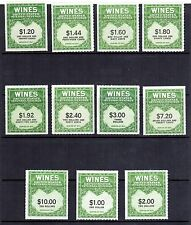 US Wines Revenue Stamps Scott# RE146-174 MNH No Gum Lot of 11 Stamps CV $335.95