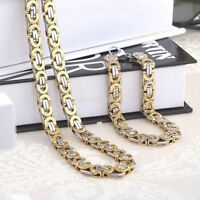 Silver Gold Stainless Steel Byzantine Chain Necklace & Bracelet Mens Jewelry Set