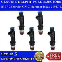 OEM Set of 5 Genuine Delphi Fuel Injectors For 2006-2007 Hummer H3 3.5L 3.7L I5