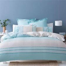 NEW Turquoise Bed Quilt Cover Set Blue and White Striped Reversible Ava SINGLE