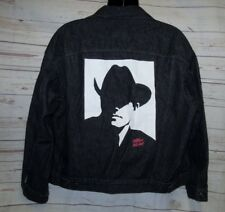 "VTG 80's L 52"" Marlboro Wild West Denim Jean Jacket Trucker Black Cowboy Print"