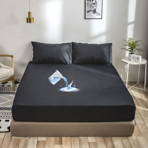 Waterproof Soft Fitted Sheets Bed Sheets Bedding Cover Deep Pocket Full Sizes