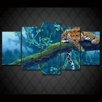 Jungle Leopard Painting Animals 5pcs Poster Art Wall Home Decor Canvas Print