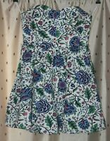 Jack Wills ~ Ladies Pretty, Lined Cotton Floral Strapless Dress ~ Size 12