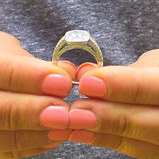 14K WHITE GOLD CUSHION CUT DIAMOND ENGAGEMENT RING BEZEL BRIDAL NATURAL 1.40CTW