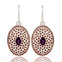 Amethyst Garnet 925 Sterling Silver Dangle Earrings Gemstone Jewelry